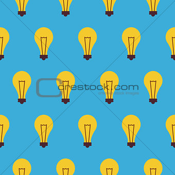 Flat Vector Seamless Pattern Creativity Idea Lamp
