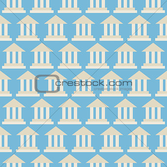 Flat Vector Seamless Pattern Government School Bank Building
