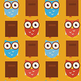 Flat Vector Seamless Pattern Wisdom and Knowledge Owls with Book