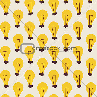 Flat Vector Seamless Pattern with Light Bulbs