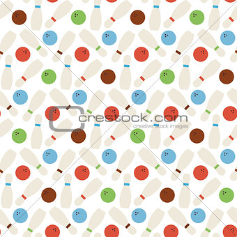Flat Vector Seamless Sport and Recreation Bowling Pattern