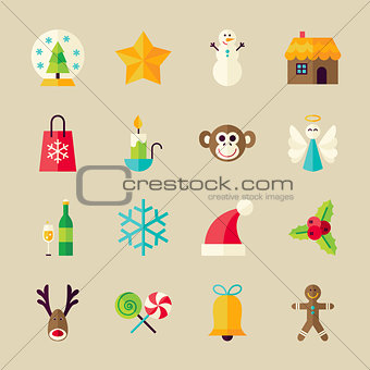 Flat Winter Christmas and Happy New Year Objects Set