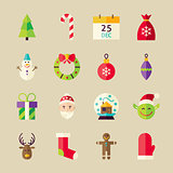 Flat Winter Merry Christmas Objects Set