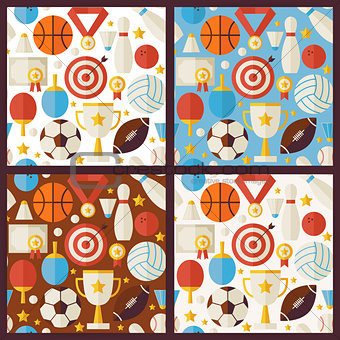 Four Vector Flat Competition Sport Recreation Patterns Set