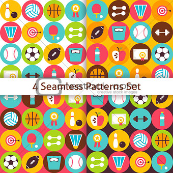 Four Vector Flat Sport Recreation and Fitness Seamless Patterns