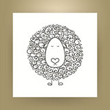 Hand Drawn Outline Sheep Isolated over White Paper