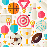 Sport Competition Recreation Vector Flat Seamless Pattern