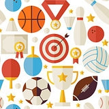 Sport Competition Recreation Vector Flat White Seamless Pattern