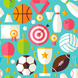 Sport Competition Vector Flat Design Blue Seamless Pattern