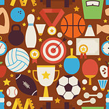 Sport Recreation and Competition Vector Flat Design Seamless Pat