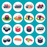 Sushi circular icon set over blue