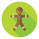 Vector Flat Design Gingerbread Man Circle Icon