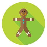 Vector Flat Design Gingerbread Man Circle Icon