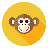 Vector Flat Design Monkey Circle Icon