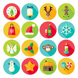 Winter Christmas New Year Circle Icons Set with long Shadow