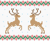 Christmas embroidery deer vector seamless texture
