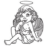 cartoon little angel black and white