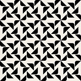 Vector Seamless Black And White Rounded Corner Triangle Square Geometric Pattern