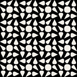 Vector Seamless Black And White Rounded Drop Shape Circle Geometric Pattern
