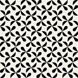 Vector Seamless Black And White Rounded Drop Shape Half Circle Geometric Pattern