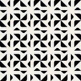 Vector Seamless Black And White Rounded Triangle Spyral Geometric Pattern