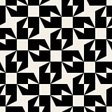 Vector Seamless Black And White Rounded Triangle Square Star Geometric Pattern