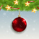 Red decoration and green fir branch