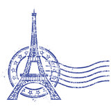 Grunge round stamp with Eiffel Tower - landmark of Paris