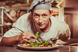 male cook preparing delicious appetizer