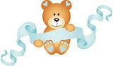 Teddy bear boy holding a blue ribbon banner