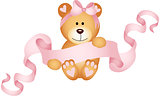 Teddy bear girl holding a pink ribbon banner