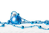 Blue Christmas ball with garland