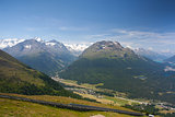 Panorama of the Upper Engadine from Muottas Muragl