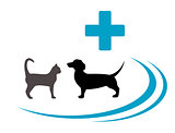 dog and cat silhouette on veterinary symbol