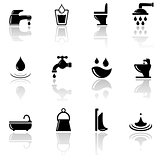 plumbing sanitary engineering icons set