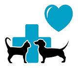 veterinarian symbol with cat and dog dachshund