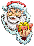 Santa Claus holding box with gift