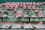 Broken seats in the stadium