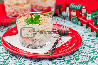 Christmas Chicken, Apple, Cheese and Egg Salad Layered with Mayo
