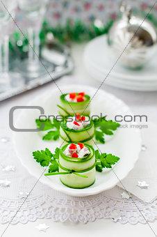 Cucumber Rolls Stuffed with Feta, Herbs, Capsicum and Black Oliv
