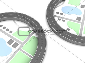 3d roads and map