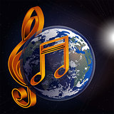 music note planet earth