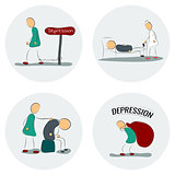 Icon set man in depression