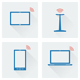 icon set gadgets with wifi