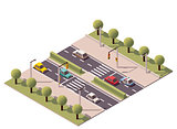 Vector isometric pedestrian crossing