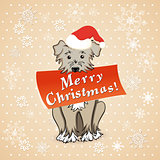 christmas card with cartoon dog