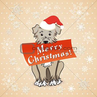 christmas card with cartoon dog