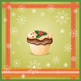 christmas card with cupcake