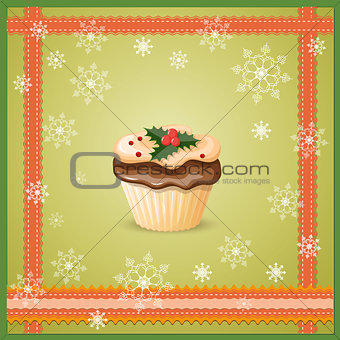 christmas card with cupcake