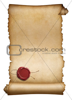 Old parchment or manuscript with red wax seal isolated